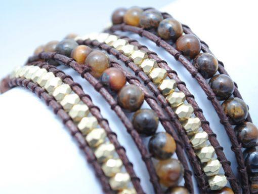Ladies_bracelet_Gold_Brown_bead_LB2